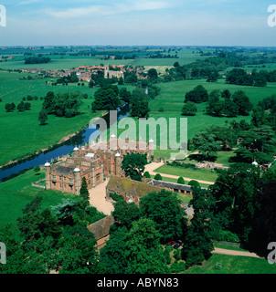 Charlecote Park Stratford upon Avon UK aerial view - Stock Photo