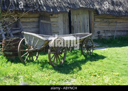 Wooden cart in Zagroda Guciow farm open air folk museum in Roztocze region Poland - Stock Photo