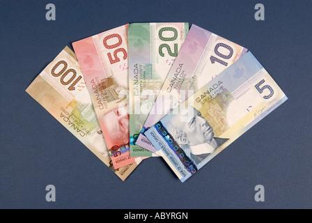 5 Five Ten 10 Twenty 20 Fifty 50 One hundred 100 Canadian Canada cash money dollar bills - Stock Photo