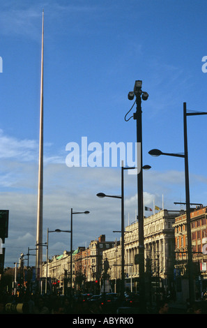 The Millenium Dublin Spire on O Connell Street in the city centre - Stock Photo