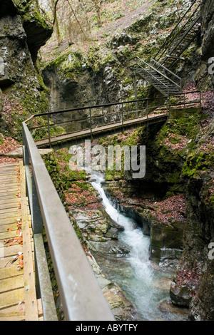Zeleni vir near Skrad in Gorski kotar in Croatia, Vrazji prolaz (Devil s pass) tight natural passage - Stock Photo