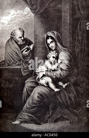 Virgin Mary holding child Jesus wise man reading book black and white illustration old church Crete Krete island - Stock Photo