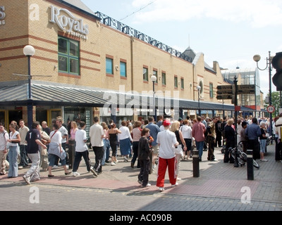 Southend on Sea seaside resort beside River Thames estuary people in High Street alongside The Royals shopping complex - Stock Photo