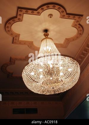 Essex hotel ballroom ceiling glass chandelier - Stock Photo
