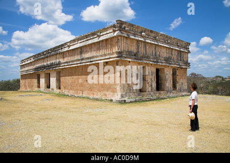 Casa de las Tortugas, House of the Turtles, Uxmal Archaeological Site, Uxmal, Yucatan State, Mexico - Stock Photo
