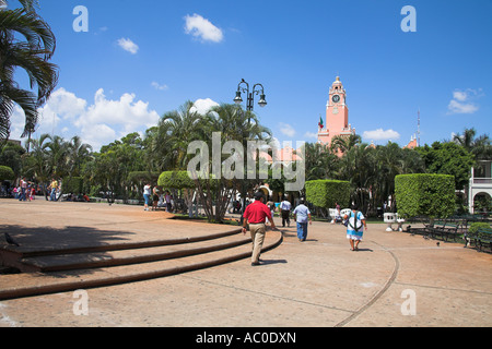 Plaza Mayor, also known as Plaza de La Independencia and Zocalo, Merida, capital of Yucatan State, Mexico - Stock Photo