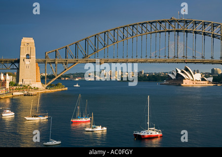 View over Lavendar Bay toward the Harbour Bridge and Opera House from McMahons Point on Sydney's north shore - Stock Photo