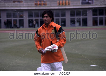 AMSTERDAM June 2005 Charity Cricket match during IIFA award weekend Shahrukh Khan bowled - Stock Photo