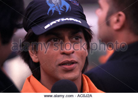 AMSTERDAM June 2005 Charity Cricket match during IIFA award weekend Shahrukh Khan explains his tactics to the media - Stock Photo