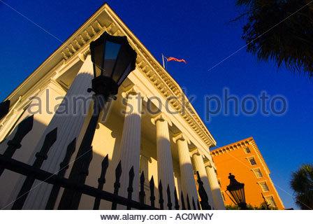 Hibernian Hall on Meeting Street in the historic district of Charleston South Carolina - Stock Photo