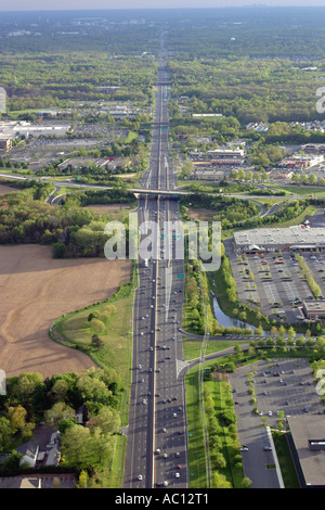 Aerial view of U.S. Route 1 & 9 near Princeton, New Jersey, U.S.A. - Stock Photo