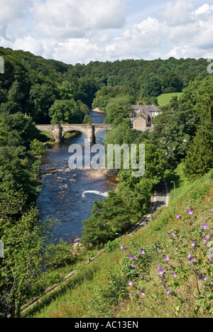 River Swale from Castle at Richmond North Yorkshire UK - Stock Photo