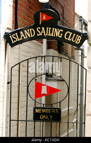 gate entrance to the island sailing club isle of wight cowes uk showing coat of arms - Stock Photo