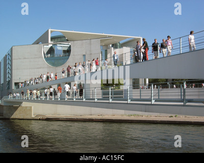View of the Federal Chancellery Bundeskanzleramt rear side from the garden Berlin Mitte Germany 2003  - Stock Photo