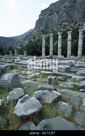 Temple of Athena Polias Priene Turkey - Stock Photo