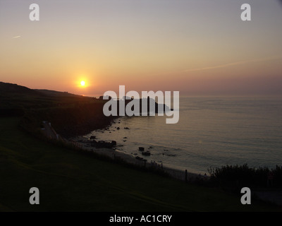 Sunset from above Portminster beach, St Ives. - Stock Photo