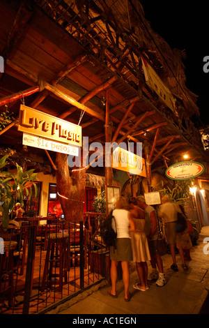 Restaurant Row Basilio Badillo street Puerto Vallarta Jalisco Mexico - Stock Photo