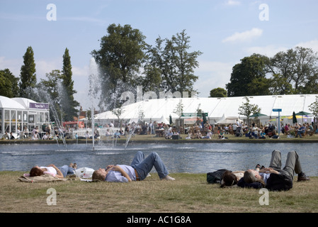 Couples Relax By The Long Water In Home Park At Hampton Court Flower Show 2005