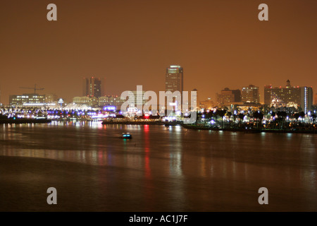 Long Beach California USA down town at night as seen from the RMS Queen Mary - Stock Photo
