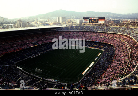 Nou Camp stadium, the largest football stadium in Europe and home of FC Barcelona, Spain. - Stock Photo