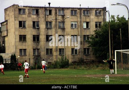 Legia Warsaw football club reserve team playing a game on a pitch close to Woiska Polskiego stadium in Warsaw Poland - Stock Photo