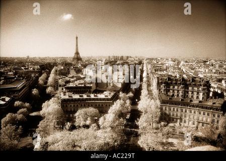 paris city scape with eiffel tower sepia - Stock Photo