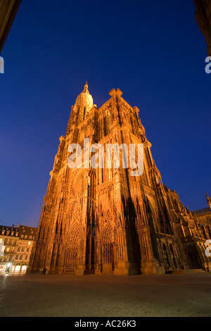View over Cathedral Square to the Our Lady s Cathedral Cathédrale Notre Dame Strasbourg Alsace France - Stock Photo