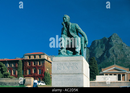 Statue of Cecil John Rhodes in the grounds of the University of Cape Town South Africa - Stock Photo