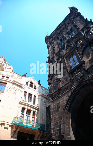 Travel photography from Czech republic Prague Praha Praag Praga Prag powder house and municipal house Obecni Dum - Stock Photo