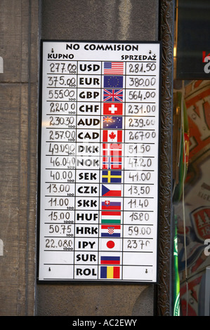 multi currency exchange rate board outside tourist exchange in the old town of Krakow poland - Stock Photo