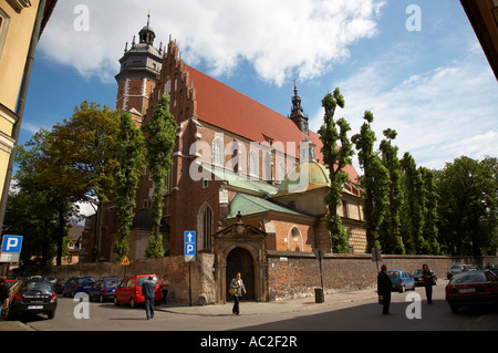 Corpus Christi Bozego Ciala 14th century and 17th century gothic church in kazimierz krakow - Stock Photo