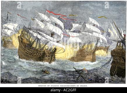 Seizure of Spanish treasure ships by the English fleet of Sir Francis Drake. Hand-colored woodcut - Stock Photo
