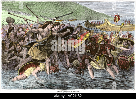 roman landings to britain led by julius caesar in 55 and 54 bc Julius caesar invaded britain twice, in 55 and 54 bc, during the course of the roman empire's gallic wars, but his landing sites have never been found he would have arrived with hundreds of roman .