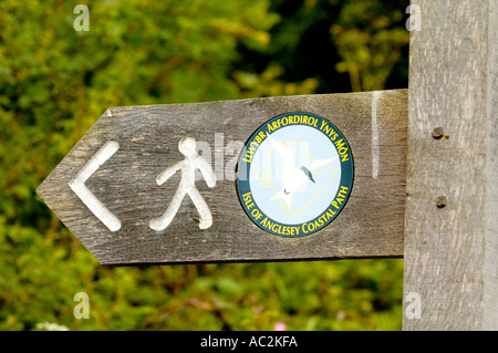 Signpost on the Isle of Anglesey Coastal Path at Amlwch Anglesey North Wales UK GB - Stock Photo