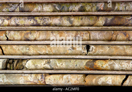 Cores from exploratory drilling at Parys Mountain copper mine which has been worked since Bronze Age on Anglesey - Stock Photo