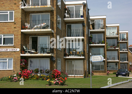 Appartments block on the seafront, Southend on Sea Essex England UK - Stock Photo