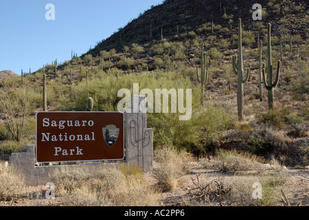 Entrance sign for Saguaro National Park, Arizona, USA, with cacti in background - Stock Photo