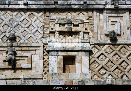 Mexico yucatan state uxmal ornamentation sculpted at the nunnery quadrangle - Stock Photo