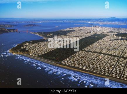 aerial overview above San Francisco's Ocean Beach, Golden Gate park, the Golden Gate bridge, Lands End, the avenues, - Stock Photo