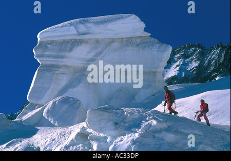 alpinism in Chamonix on glacier d'Argentire, France, Haute Savoie, Alps - Stock Photo