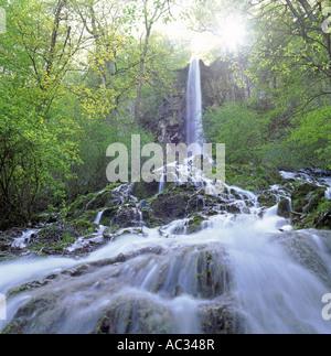 Uracher waterfall in the Maisental, Germany, Baden-Wuerttemberg, Schwaebische Alb - Stock Photo