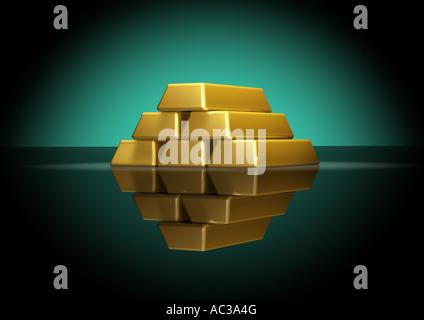 stacked gold bars Goldbarren gestapelt Haufen - Stock Photo