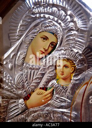 Virgin Mary and Child Jesus Christ Saint unknown decoration old church Crete Krete island Greece - Stock Photo