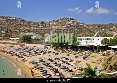 Super Paradise Beach Cyclades Island  Mykonos Greece Europe - Stock Photo