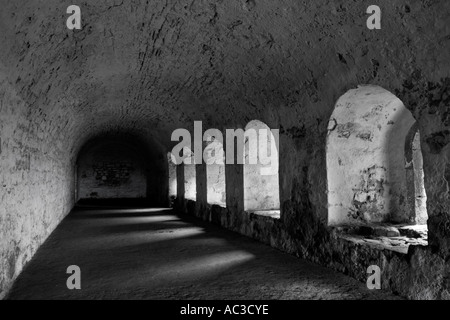 Passageway at Inchcolm Abbey Inchcolm Island Firth of Forth Scotland - Stock Photo
