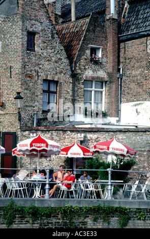 Europe Belgium Bruges Brugge Cafe Canal - Stock Photo