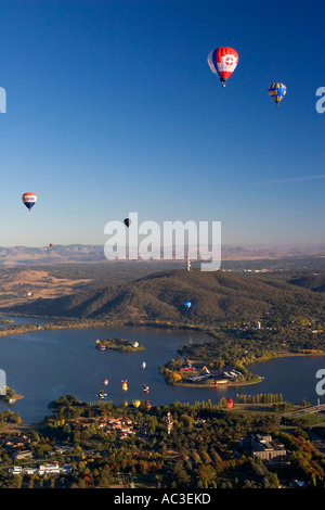 Hot Air Balloons over Lake Burley Griffin, Canberra - Stock Photo