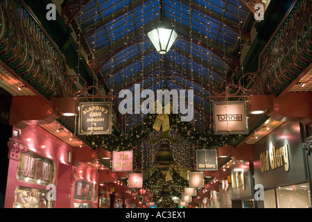 'Roof Detail County Arcade',twinkling,'Shop Sign',Bell,decorate,decoration,'gold bow' - Stock Photo
