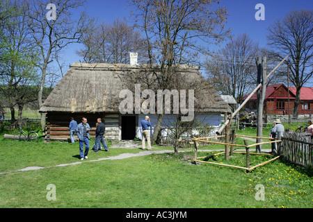 Zagroda Guciow farm open air folk museum in Roztocze region Poland - Stock Photo