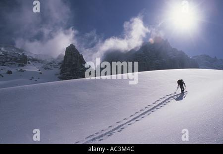 Ski mountaineering in Stubai Austria - Stock Photo